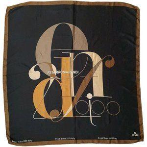Fendi, Roma 1925 Logo Brown Gold Black Silk